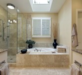 Luxury master bath with skylight over bath tub